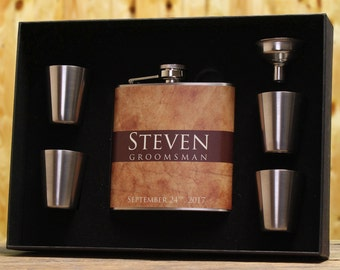Unique Flasks, Set of 8, Personalized Gifts for Groomsmen, Natural Wedding