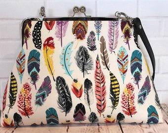 metal framed clutch purse - large clutch purse - feathers - kiss lock closure