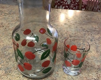 Libbey Glass Cherry Carafe and Juice Glass