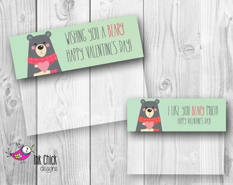Bear Valentine Bag Topper, Valentine Bag Topper, Valentine Treat Bag, Classroom Valentines, Bear Valentine, Printable Valentine, Valentine