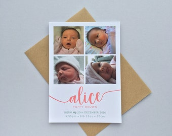 Pack of 30 Birth Announcement Cards with Envelopes. New baby. Personalised colour scheme. Girl or Boy. Fun and Quirky Design.