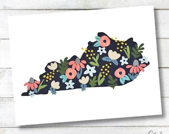 PRINTABLE Kentucky Floral Wall Art