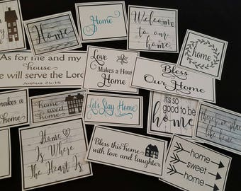 Set of 17 Farmhouse/Urban Style White Paper Labels (not sticky)