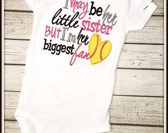 Biggest Fan Little Sister Softball Shirt/Bodysuit--**Hairbow NOT included!!!