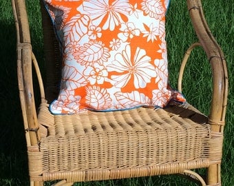 2 NEW handmade orange tropical floral with blue satin trim scatter cushions