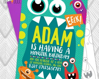 5 X Personalised MONSTER SCARY EEEK! Birthday Party Invitation Invites Stationary