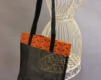 Mesh Tote. Skulls & Cats. Orange, Black and White Bag with Long Shoulder Straps. Halloween. Project, Market or Beach Bag. From MDS Creative.
