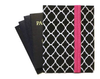 Quatrefoil Travel Wallet, Family Passport Holder, iPhone Cell Phone Case, Women's Travel Organizer, Passport Case Black White, Travel Gift