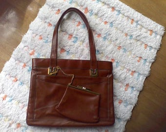 Brown Leather handbag by Lou Taylor, Change purse, and Mirror
