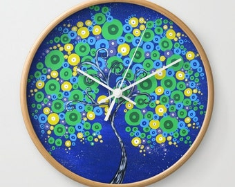 "tree of life clock, wall clock, tree prints, bedroom clock, clock for wall, kitchen clock, blue and green tree print, green tree print, 10"""