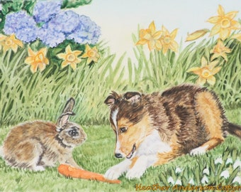 """8"""" x 10"""" giclee print, Sheltie pup sharing carrot with bunny , """"A Gift to Share"""",  Handmade,  Heather Anderson"""