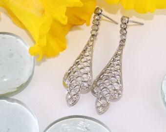 Diamond Platinum Earrings, Antique Edwardian Drop Earrings