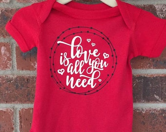 LOVE is all you need -- Valentines Day Shirt -- Little Girls