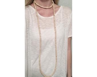 Extra Long Double Wrap Necklace cream