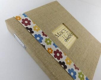 Burlap Baby Book Girl Baby Memory Book Pregnancy Journal Keepsake Rustic Album- Yellow Chevron 8.5x11 Binder Modern Baby Book