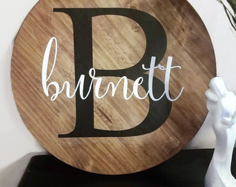 Round Wooden Name Sign - family name sign - round last name sign