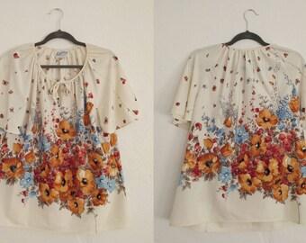 Lady Winn Floral Blouse (38). Floral Blouse. Vintage Floral Blouse. Vintage Blouse. Hippie Blouse.