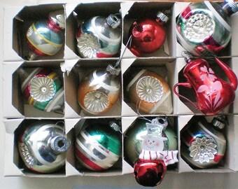 Mixed Box of Shiny Brite Christmas Tree Indent Ornaments - 5069