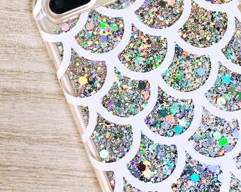 Silver Glitter iPhone Case, Mermaid Scales Phone Case, iPhone 7 Case, iPhone 7 Plus, iPhone 6, iPhone 6 Plus Case Gift for Her, Mermaid Tail