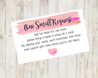 Baby Shower Printable, Baby Shower Bring a Book Card, Bring a Book Instead of a Card, Bring a Book Baby Shower Insert Pink
