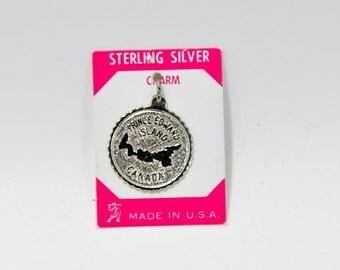 Sterling Silver Charm Prince Edward Island Canada Map Vintage Jewelry Charm Original Tag