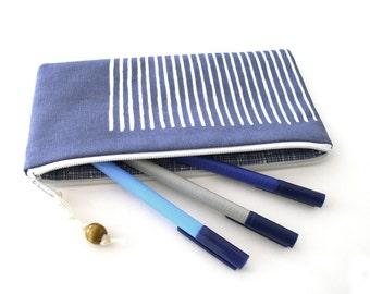 Pecil case, pencil pouch, zipper pouch,  cotton, blue, white, striped