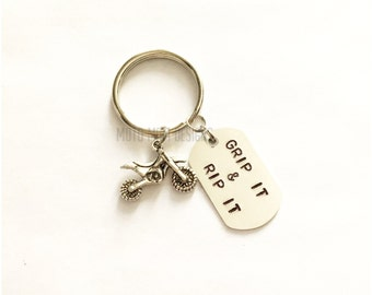 Dirt Bike Keychain - Grip It & Rip It - Motocross - Motocross Gift - Motocross Keychain - Dirt Bike - Gift for Him - Racing - Dirt Track