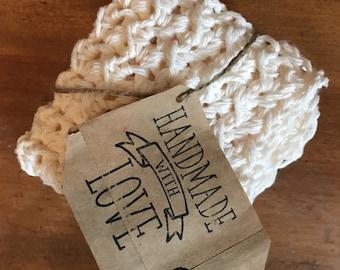 Crocheted cream washcloth/dishcloth off white