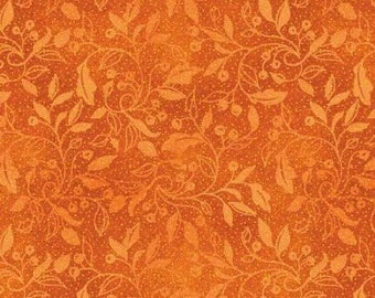 Autumn Song- Orange, Fabric by the Yard