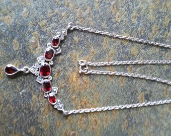 Vintage 925 Sterling Silver Marcasite Faceted Red Crystal Stone Necklace