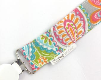 Bright Paisley floral baby dummy clip  l baby dummy clip | boho baby | Baby pacifier clip | cotton Dummy Saver | fabic dummy clip | girls
