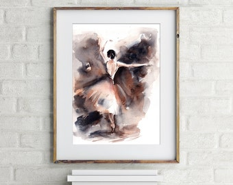 Ballerina Watercolor Painting, ORIGINAL painting, ballet painting art, watercolour of ballerina, abstract modern art