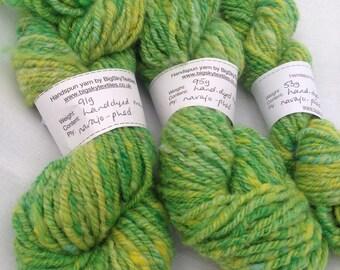 Handspun greens and yellows yarn pack, 239g, for weaving, knitting or crochet