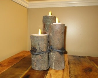 Tri-log Candle Holder with Wrought Iron Strap