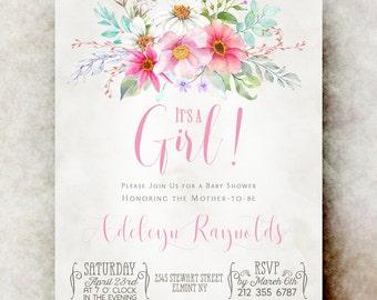Baby shower invitation girl printable - baby shower invitation girl, unique baby shower invitations, baby girl shower invitation