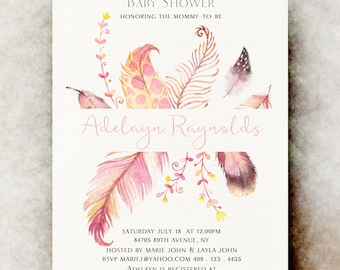 boho Baby shower invitation girl printable, baby shower invitation girl, unique baby shower invitations, baby girl shower invitation