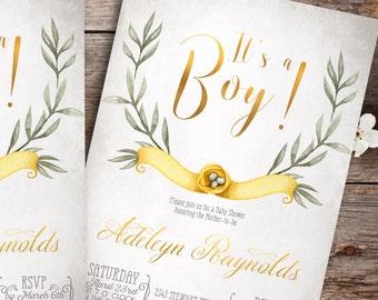 Nest Baby shower invitation boy - printable baby shower invitation, baby boy shower invitation, unique baby shower invitations