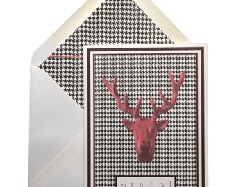 "Reindeer Head Christmas Cards, Box of 8 w/ lined envelopes, Greeting Cards, Houndstooth, Merry, Checks, Red, Original Art, Handmade, 5"" X 7"""