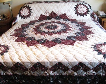 Vintage King Size 100inx84in Quilt Hand Stitched and Machine Stitched All Cotton Flower Burst Pattern White Backing Excellent Condition