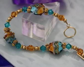 Etruscan, Byzantine, Lamp Glass Goldtone Bracelet