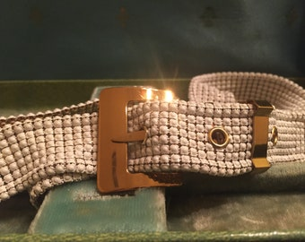 Whiting and Davis White and Gold Mesh Belt