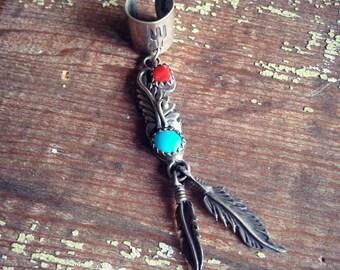 Vintage Sterling Turquoise Ear Cuff, Bohemian Hippie Gypsy Cowgirl Earrings Ear Cuff