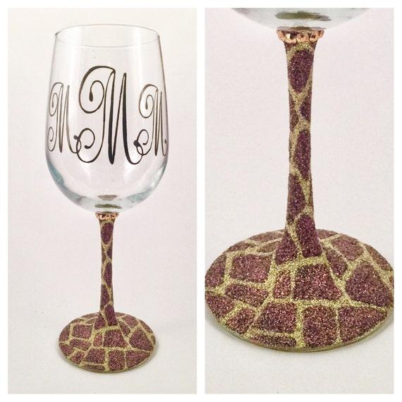 Giraffe Glitter Wine Glass