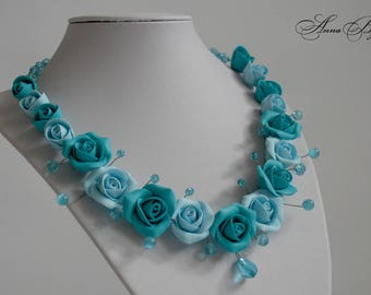 Polymer clay jewelry. Handmade polymer clay flower necklace