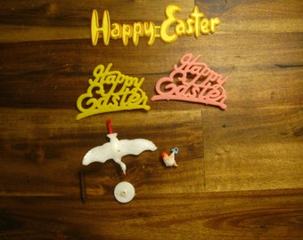 Vintage Happy Easter And Stork Carrying Baby Cake Topper