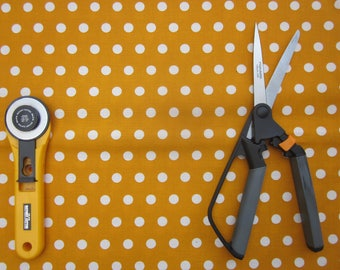 Gold  and White Polka Dot Fabric, One yard, Quilt Fabric, Cotton Fabric, Craft Fabric, Sale