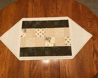 Forest Green and Cream Patchwork Flower Accent Table Runner