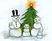 Snowman Family Christmas Cards