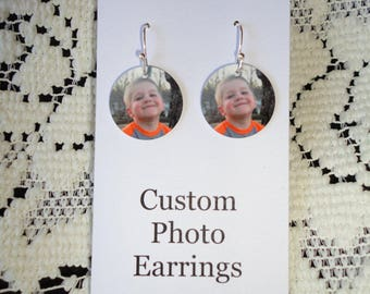 Mother's Day, Personalized PHOTO EARRINGS with YOUR Photo - Custom Charm Earrings - Fun!!!