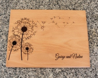 Personalized Custom Cutting Board Dandelions Wedding Anniversary Gift Bridal Shower Gift Housewarming Kitchen Art Home Decor